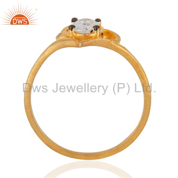 Exporter Handmade Ladies White Gleaming Cubic Zircon 18K Yellow Gold Plated Fashion Ring
