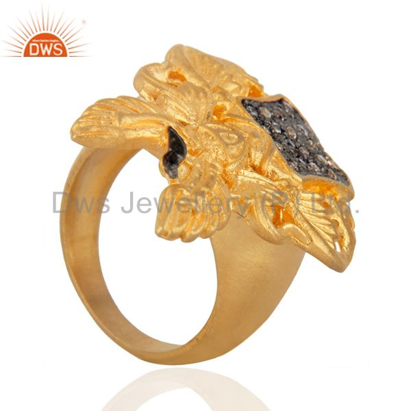 Exporter Women Party Jewelry Pave Set Round Cubic Zircon Yellow Gold Plated UK Sign Ring