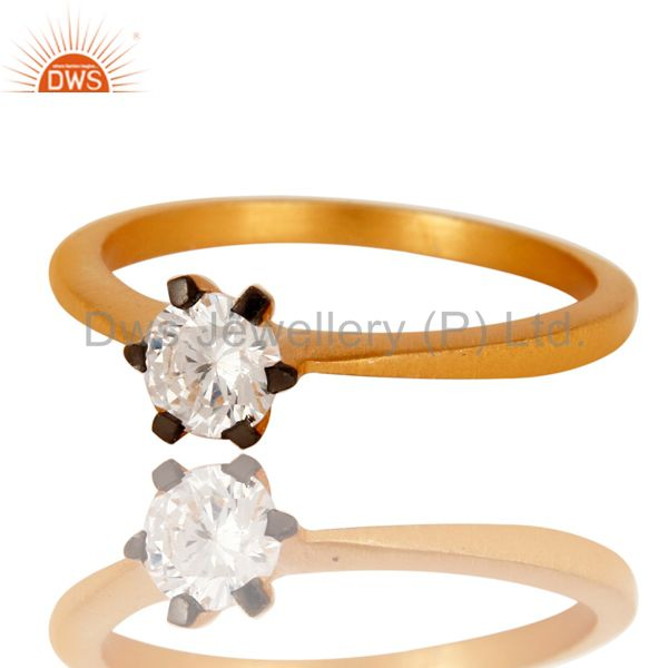 Exporter 18K Yellow Gold Plated White Cubic Zirconia Solitaire Womens Engagement Ring