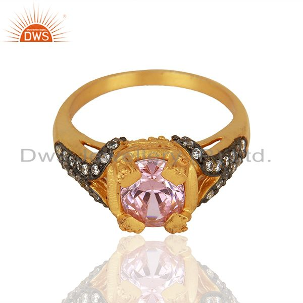 Exporter 22K Yellow Gold Plated Brass Pink Cubic Zirconia Womens Fashion Ring