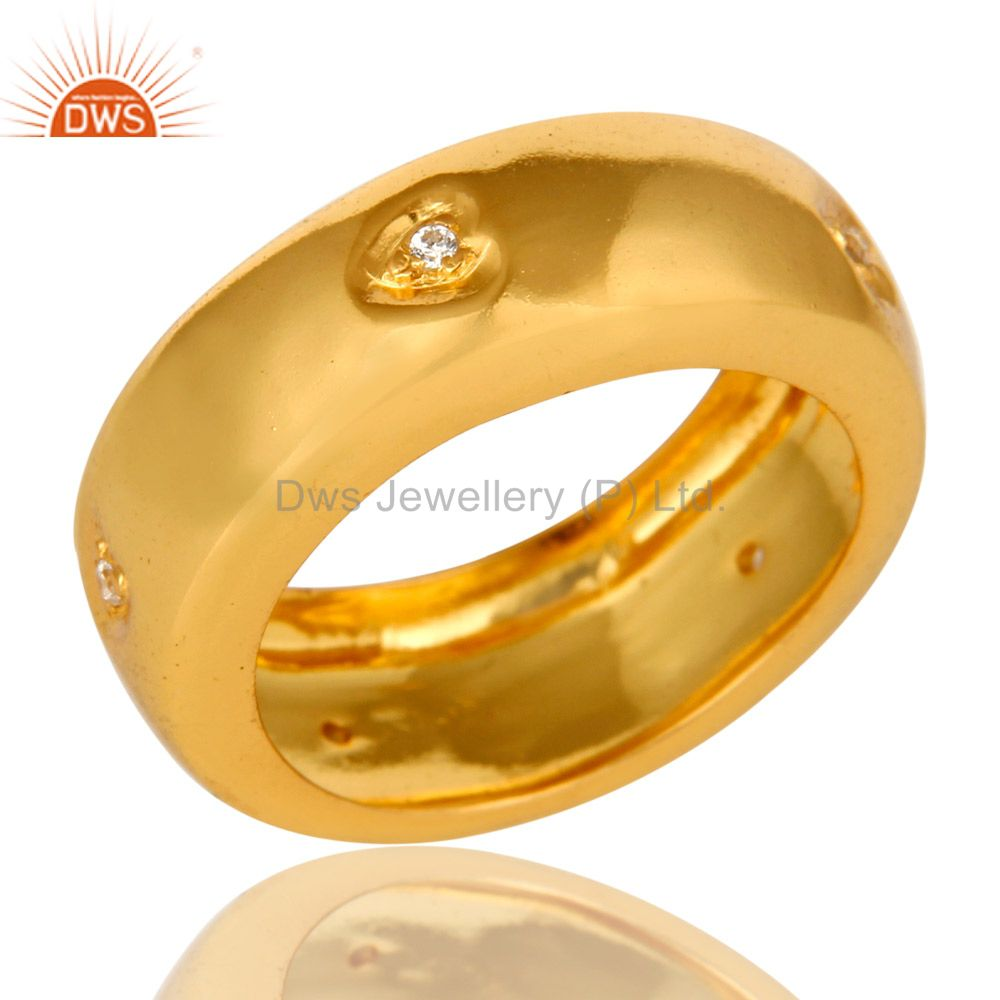 Exporter 14K Yellow Gold Plated Brass Cubic Zirconia Engagement Wedding Band Ring
