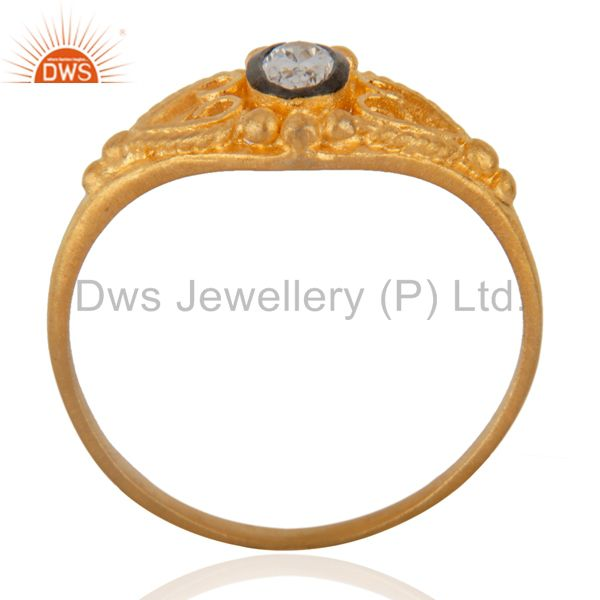 Exporter 18K Gold Plated Fashion Jewelry Handmade White Zircon Engagement Unique Ring