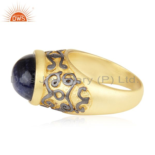 Exporter 18K Yellow Gold Plated Brass Sodalite Gemstone Cocktail Ring