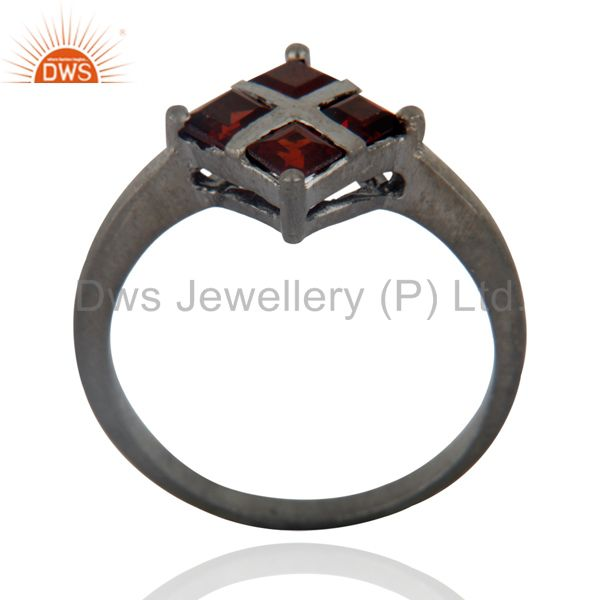 Exporter Glamorous Natural Gems Square Red Garnet Solid Brass Over Rhodium Plated Jewelry
