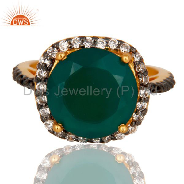 Exporter 22K Yellow Gold Plated Brass Green Onyx And Cubic Zirconia Ladies Fashion Ring