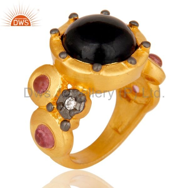 Exporter 22K Matte Yellow Gold Plated Brass Black Onyx Designer Fashion Ring With CZ
