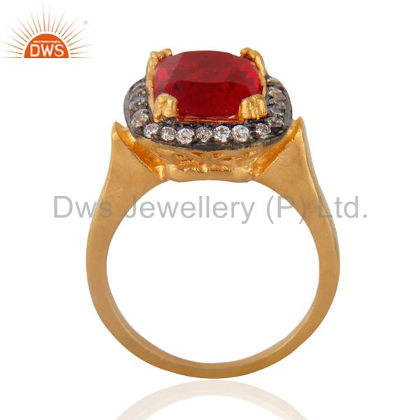 Exporter Attractive Red & White Zircon CZ 18k Yellow Gold GP Girls Child Kid Rings SZ 3.5