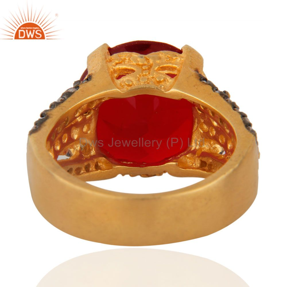 Exporter 18K Yellow Gold Plated Red Glass & White Cubic Zirconia Fashion Ring For Women