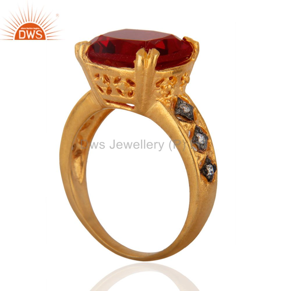 Exporter Dark Garnet Red Glass Cubic Zirconia 18K Yellow Gold Plated Ring Gift For Womens