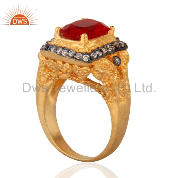 Exporter Antique 18K Yellow Gold Plated Simulated Cubic Diamond Red Glass Ruby Color Ring