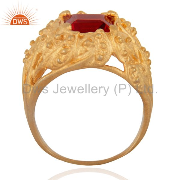 Exporter Leaf design Vintage Look 18k Gold Plated Synthetic Gemstone Fashion Ring Jewelry