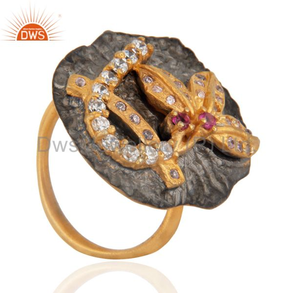 Exporter 24k Yellow Gold Plated Over Brass Fashion Women Lady Pink CZ Fashion Women Ring