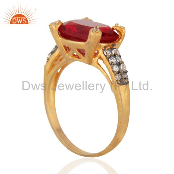 Exporter New White Cubic Zircon 24k Yellow Gold Plated Fashionable Elegant Ring