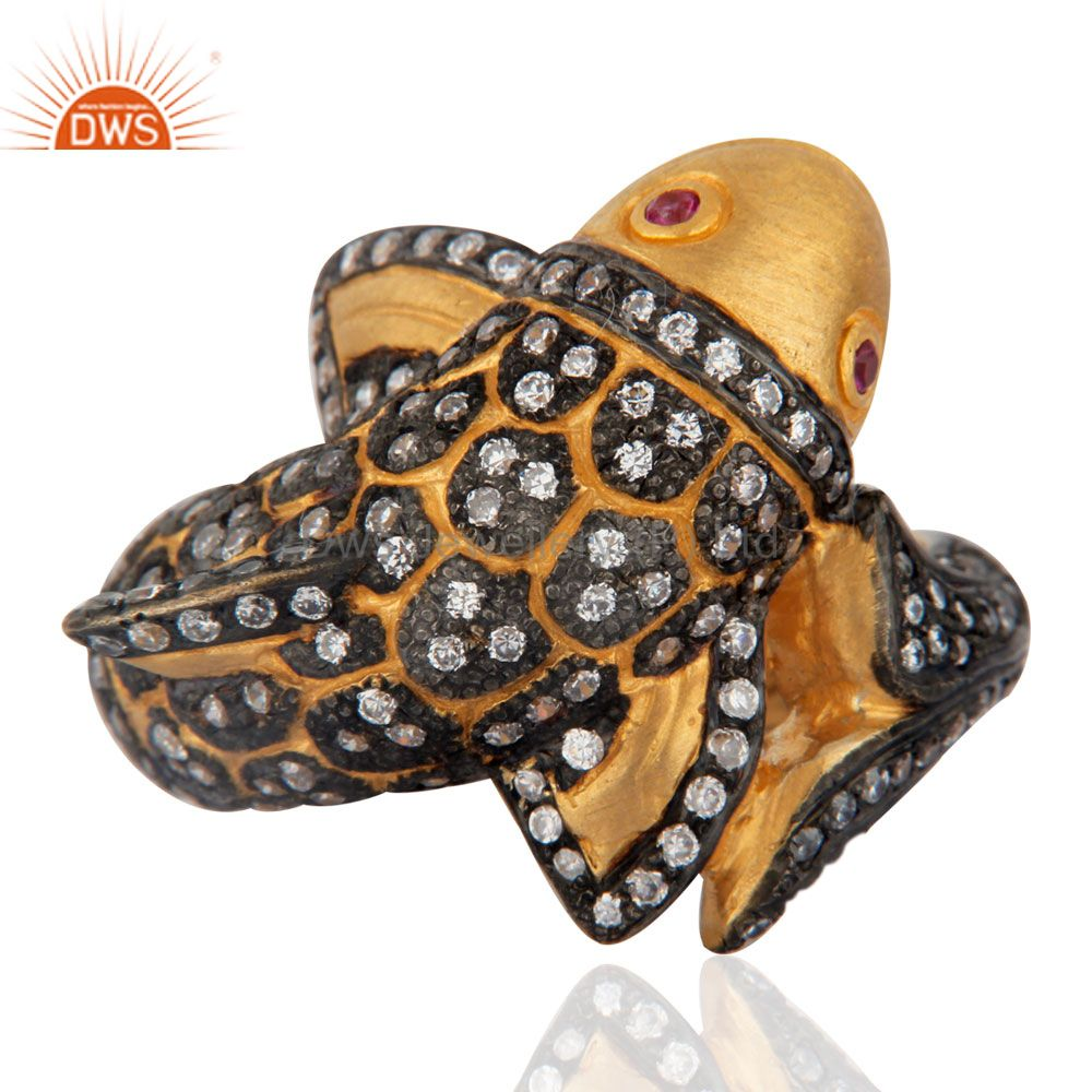 Exporter Beautiful Cute Fish Designer Simulated Diamond Fashion Ring With 18K Gold Plated