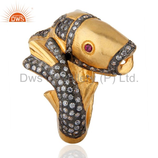 Exporter 18K Yellow Gold Polished Red & White Zircon Dolphin Designer Fashion Ring Size 8