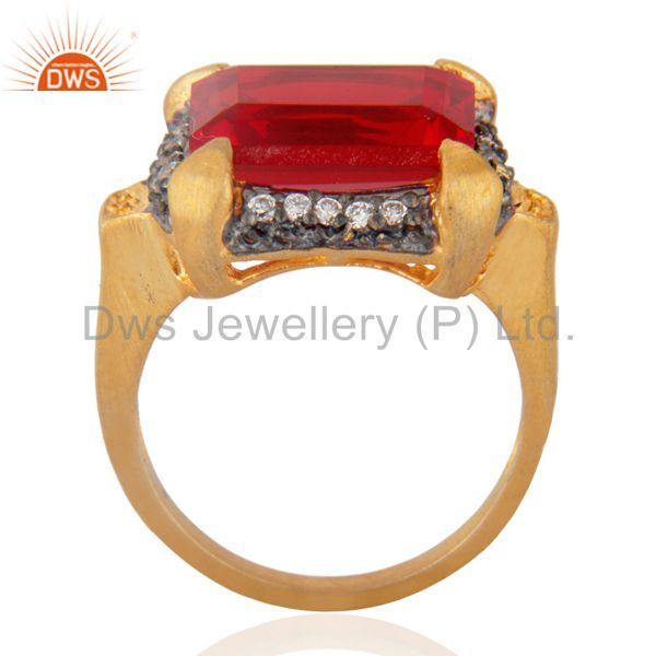 Exporter Cheap Fashion Garnet Color Red Glass Cocktail Yellow Gold Plated Zircon Ring sz