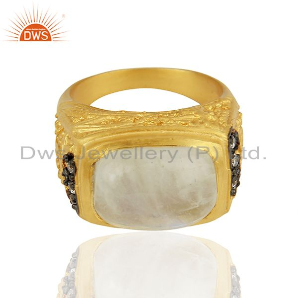 Exporter 14K Yellow Gold Plated Brass Rainbow Moonstone Designer Ring With CZ