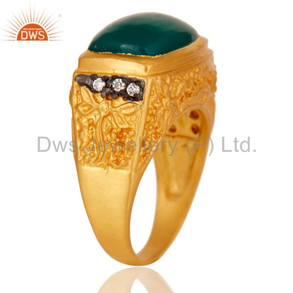 Exporter 14K Yellow Gold Plated Brass Designer Ring With Green Onyx And White Zircon