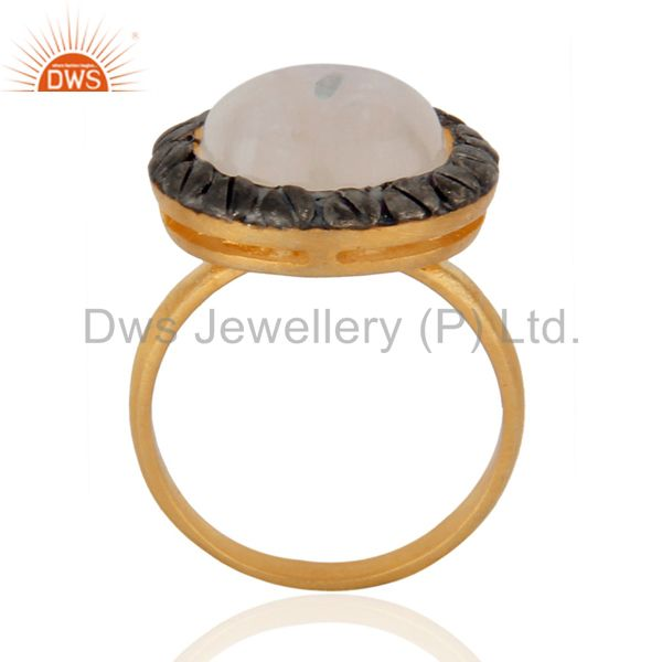 Exporter Designer Natural Rainbow Moonstone 18K Yellow Gold Plated Fashion Ring Size 8