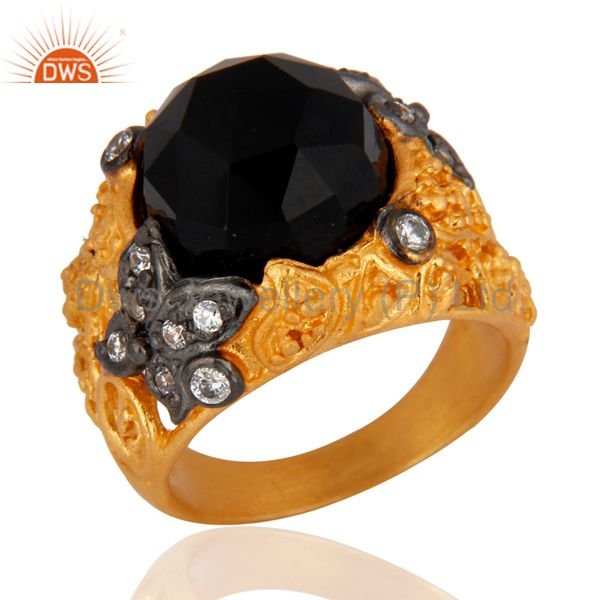 Exporter 18K Yellow Gold Plated Black Onyx And Cubic Zirconia Cocktail Ring