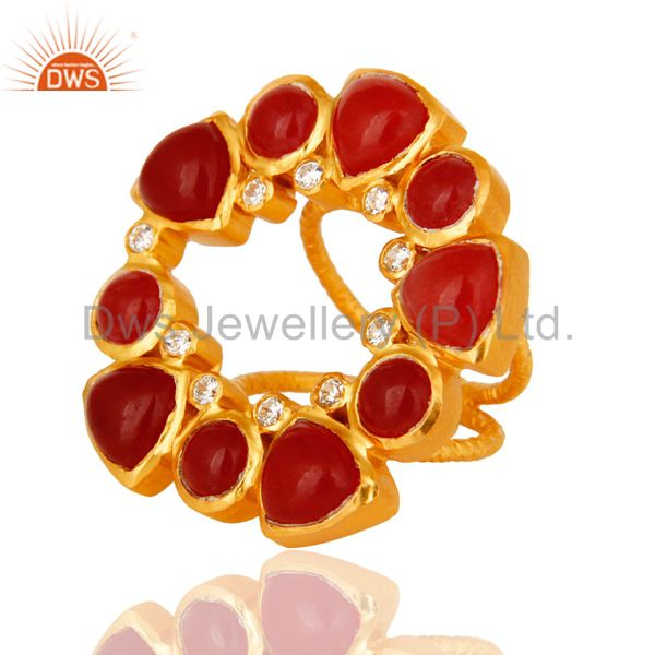 Exporter Natural Red Aventurine 22K Yellow Gold Plated Split Shank Ring With CZ