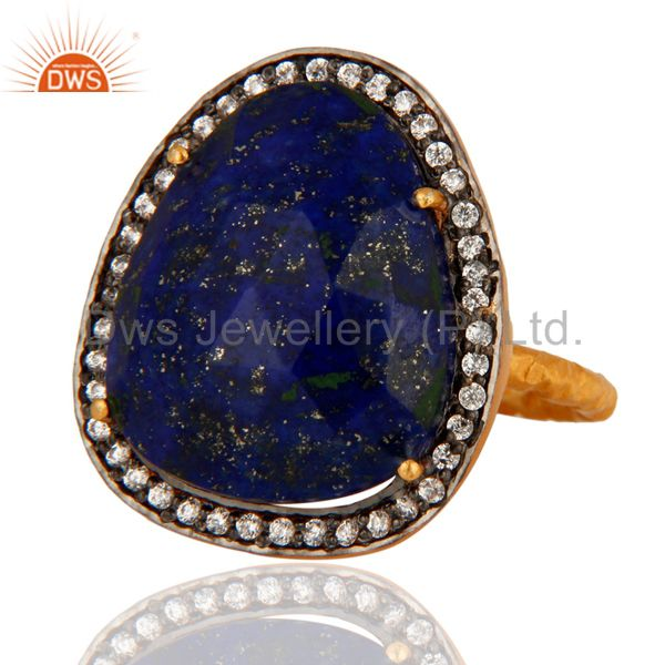 Exporter Natural Lapis Lazuli Gemstone Ring With CZ Made In 18K Gold Plated Over Brass