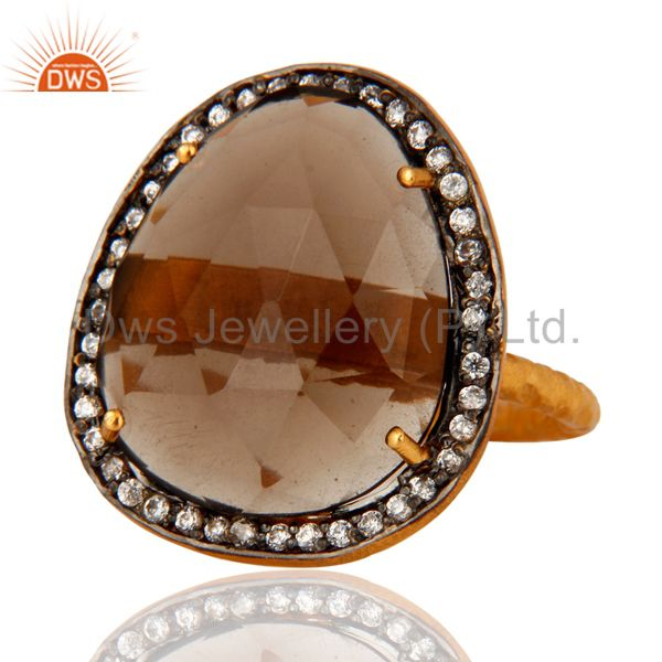 Exporter Designer Smokey Quartz and CZ 18K Yellow Gold Plated Ring