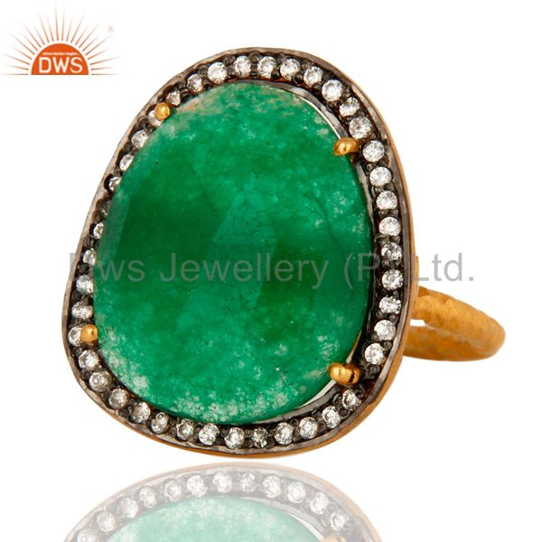 Wholesale Natural Green Aventurine Gemstone Gold Plated over brass Ring With CZ