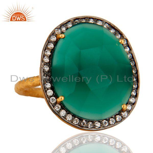 Manufacturer of Natural Faceted Green Onyx Gemstone Prong Set 22k Gold Plated Ring With CZ