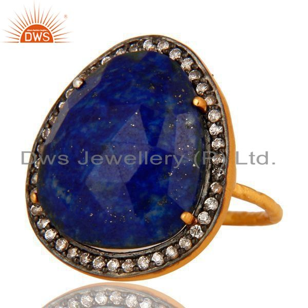Exporter 14K Yellow Gold Plated Sterling Silver Lapis Lazuli Gemstone Cocktail Ring