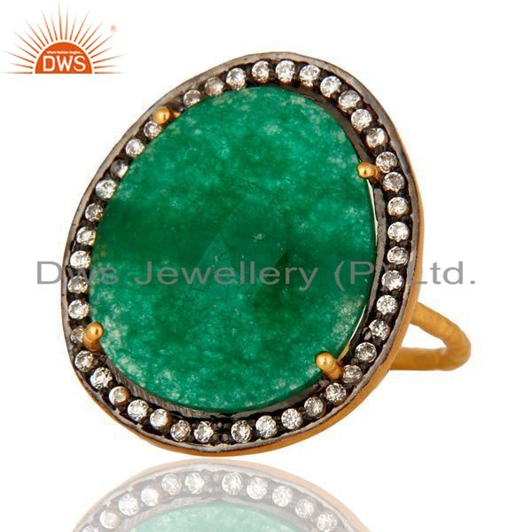 Exporter Prong Set Semi Precious Gemstone Green Aventurine Ring In Gold Plated Silver