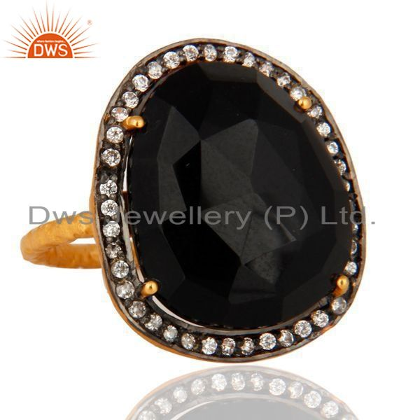 Exporter 18K Yellow Gold Plated Sterling Silver Black Onyx Gemstone Cocktail Ring With CZ