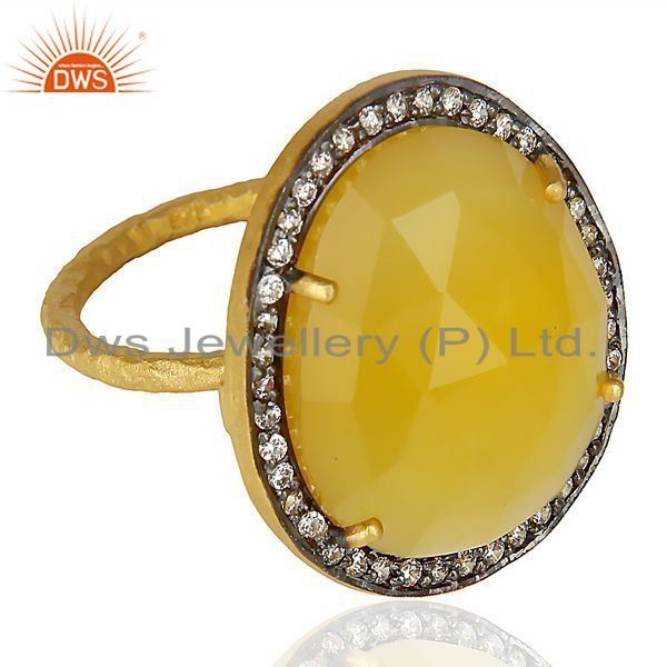 Exporter 14K Gold Plated Sterling Silver Yellow Chalcedony White Zircon Statement Ring