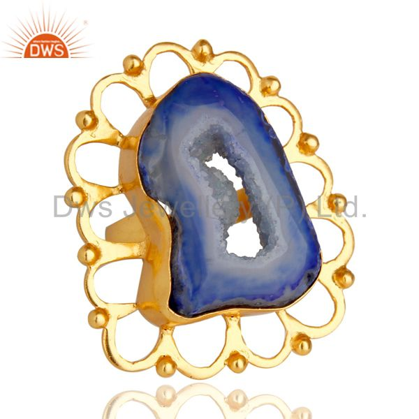Exporter Handcrafted Blue Druzy Agate 24k Yellow Gold Plated Designer Ring