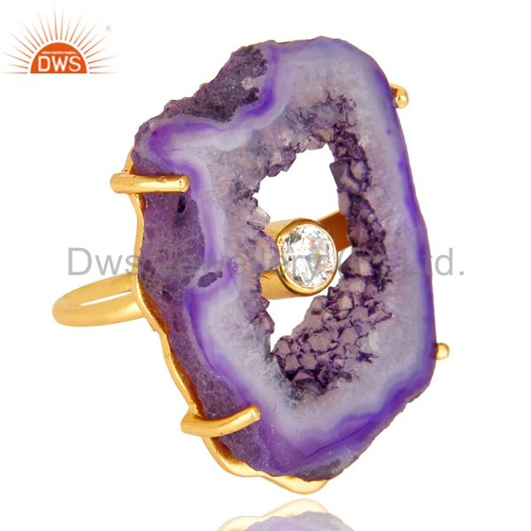 Exporter Prong Set Pink Druzy Raw Geode Slice Gold Plated Brass Handmade Ring