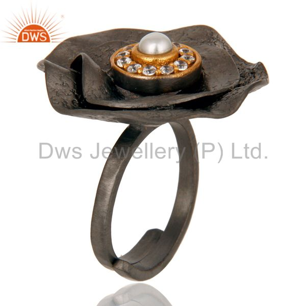 Exporter Pearl and White Zircon Black Oxidized Textured Folied Adjustable Ring