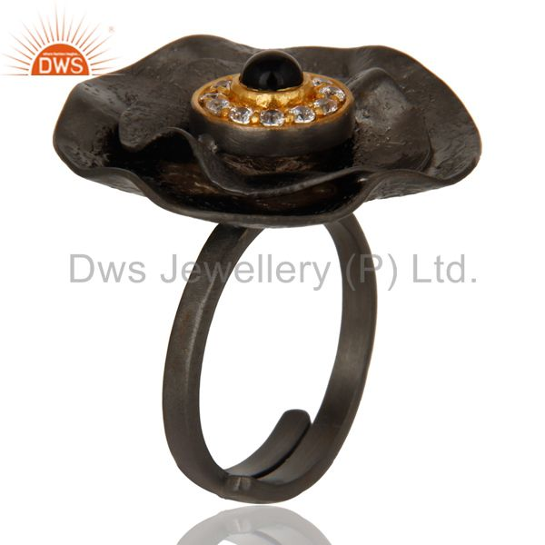 Exporter Black Oxidized Black Onyx and White Zircon Textured Folied Adjustable Ring