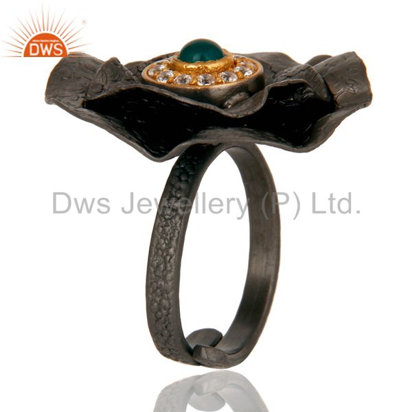 Exporter Black Oxidized Green Onyx and White Zircon Textured Folied Adjustable Ring