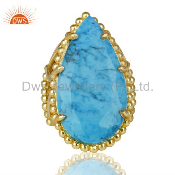 Exporter 14K Gold Plated Handmade Turquoise Prong Setting Statement Ring