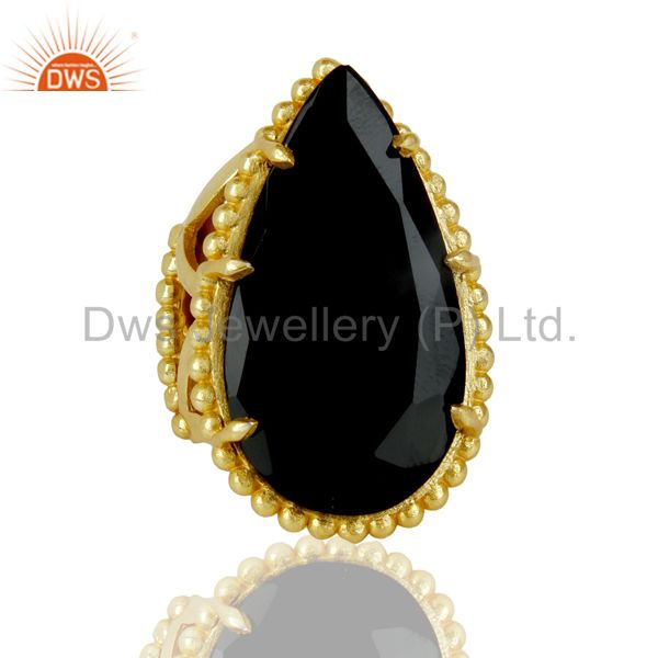 Exporter 14K Gold Plated Handmade Black Onyx Prong Setting Statement Ring