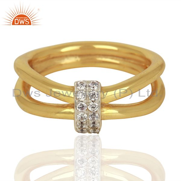 Exporter White Zircon Modern And Contemporary Two 18k Gold Plated Brass Wedding Ring