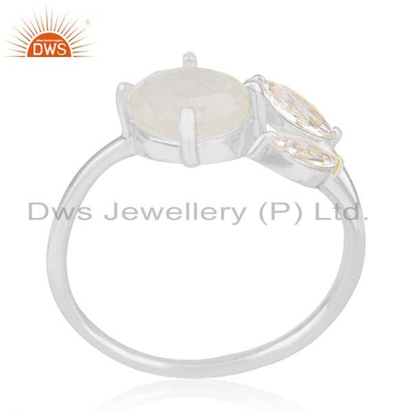 Exporter Zircon and Rainbow Moonstone Silver Plated Brass Fashion Designer Ring Suppliers