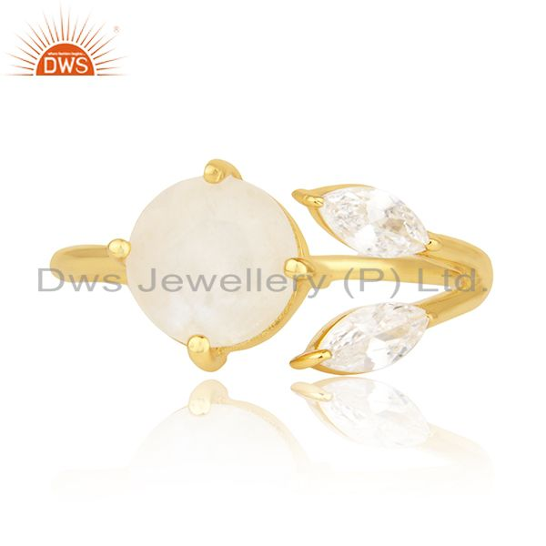 Exporter Rainbow Moonstone and Cz 18k Gold Plated Designer Fashion Ring Manufacturer