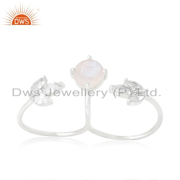 Exporter Handmade Fine Silver Plated Rainbow Moonstone Double Finger Ring Manufacturers