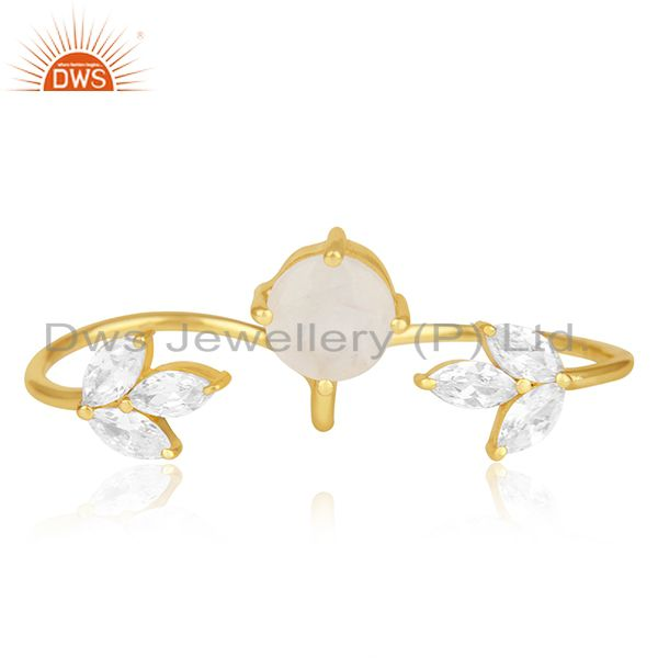 Exporter Gold Plated Brass Double Finger Ring With White Zircon and Rainbow Moonstone
