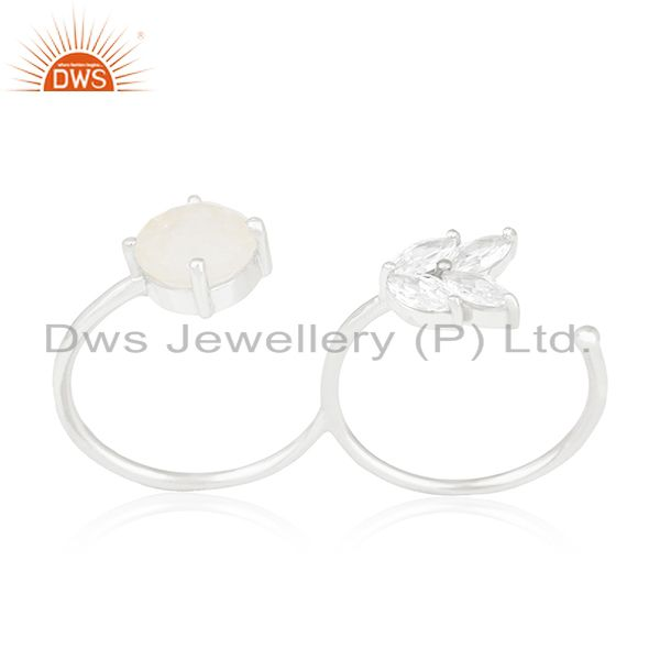 Exporter Handmade Silver Plated Brass Fashion Gemstone Double Finger Ring Manufacturer