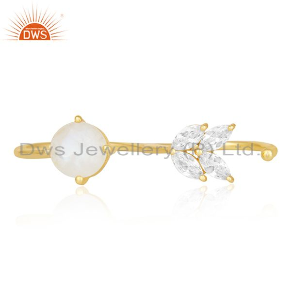 Exporter Rainbow Moonstone Fashion Gold Plated Brass Double Finger Ring Manufacturer