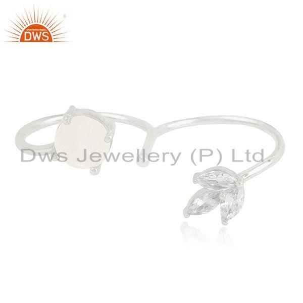 Exporter Fine Silver Plated Brass White Zircon and Moonstone Double Finger Ring Supplier