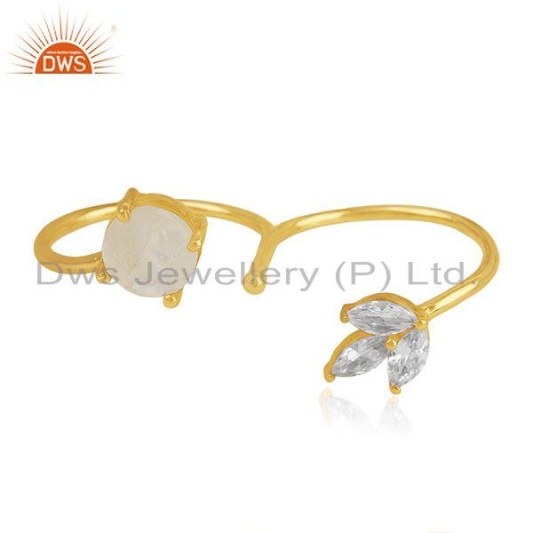 Exporter 14k Gold Plated Brass Moonstone and Zircon Double Finger Ring Manufacturers