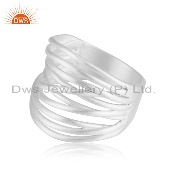 Exporter Fine Silver Plated Handmade Brass Fashion Cocktail Ring Manufacturer From India